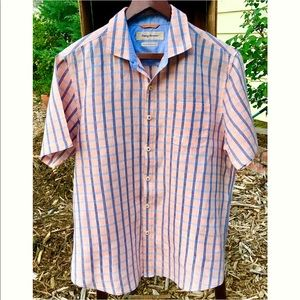 Tommy Bahama Island Modern Fit Pink Plaid Shirt L
